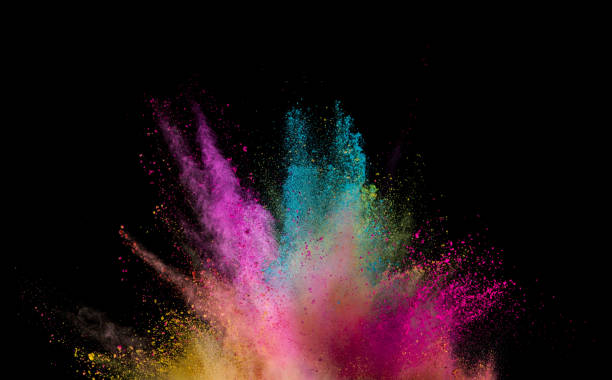 Explosion of colored powder on black background Explosion of colored powder isolated on black background. Abstract colored background powder snow stock pictures, royalty-free photos & images