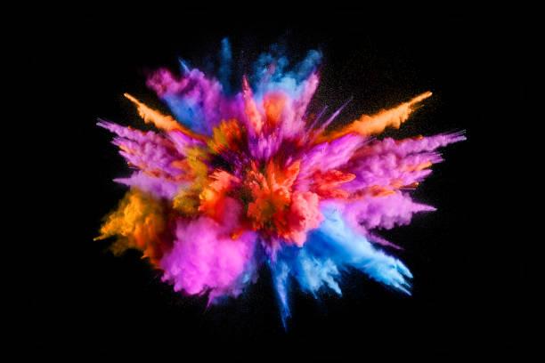 eksplozja kolorowego proszku na czarnym tle - jaskrawy kolor zdjęcia i obrazy z banku zdjęć