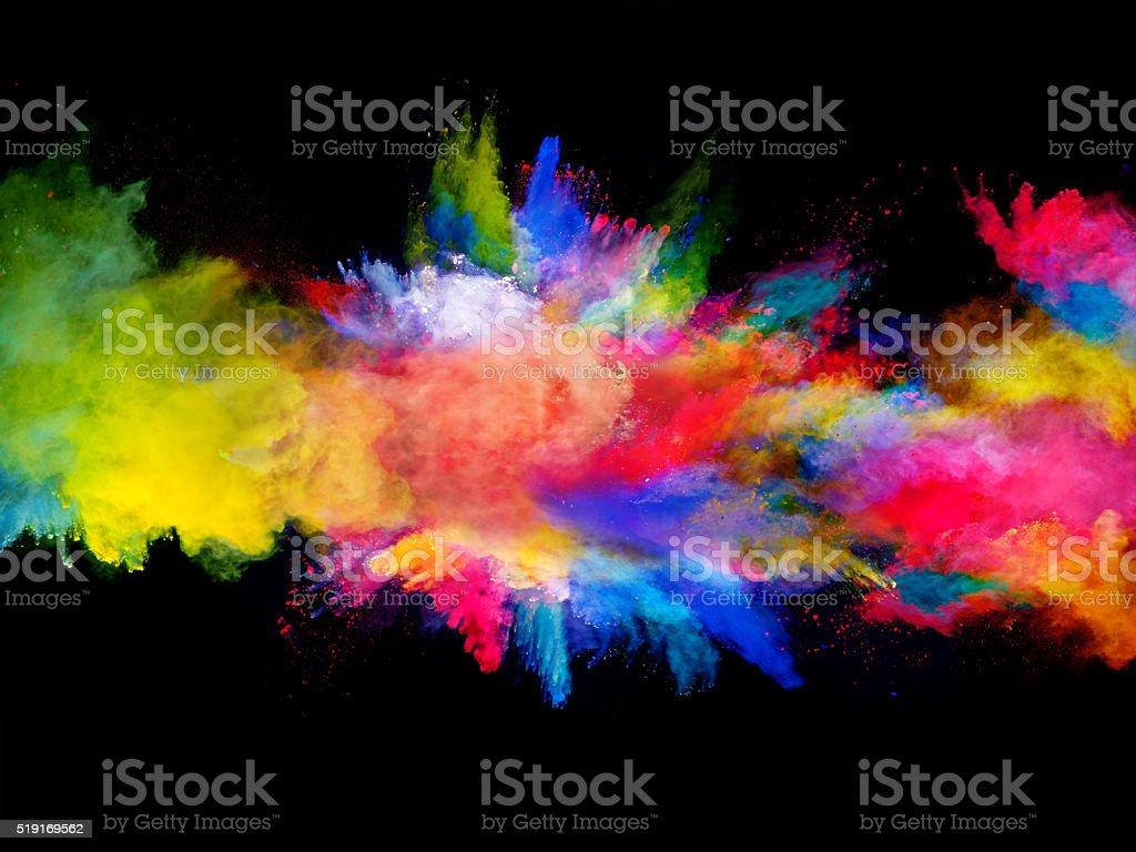 爆発の色とりどりの粉を黒の背景 ストックフォト