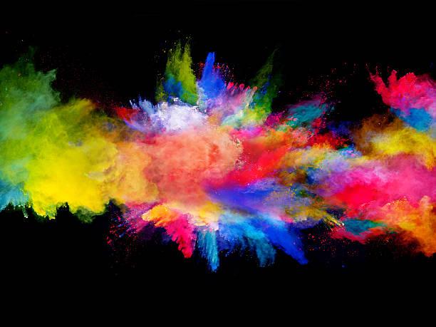 Explosion de poudre colorée sur fond noir - Photo
