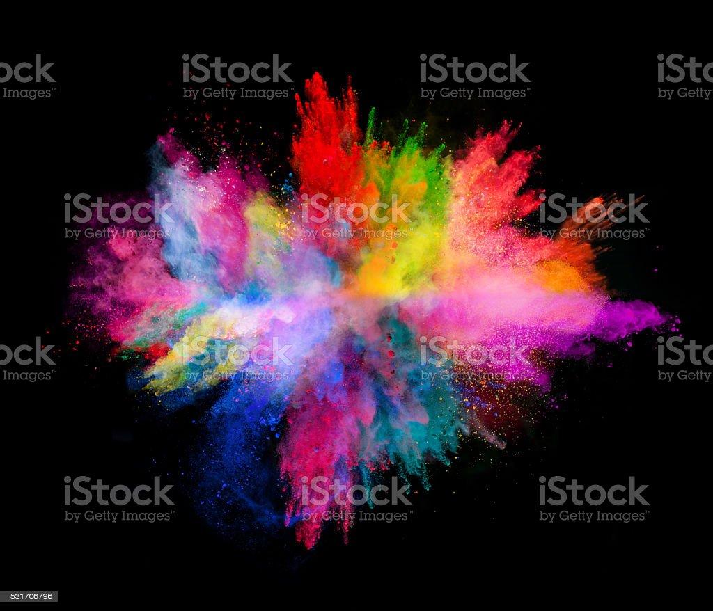 Explosion de poudre colorée sur fond noir - Photo de Abstrait libre de droits