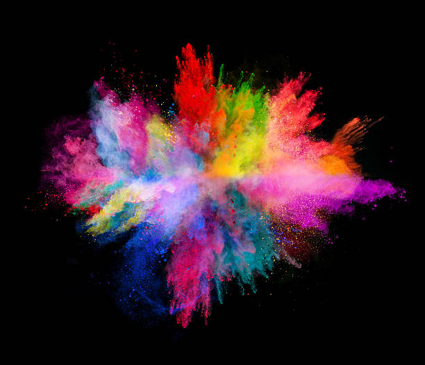 explosion of colored powder on black background - kleurenfoto stockfoto's en -beelden