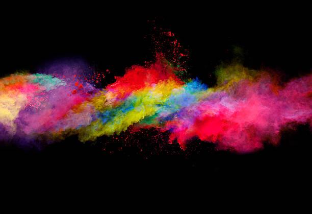 Explosion der bunten Pulver auf Schwarzer Hintergrund – Foto