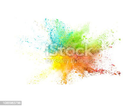 istock Explosion of colored powder on white background 1085983796