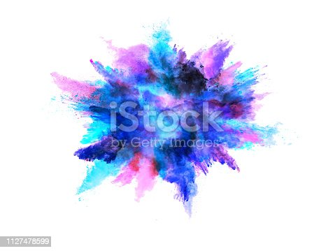 istock Explosion of colored powder on white background 1127478599