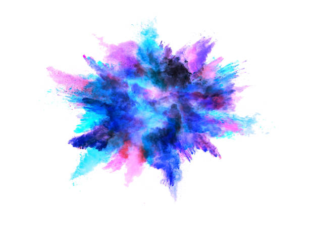 Explosion of colored powder on white background Explosion of colored powder on white background powder snow stock pictures, royalty-free photos & images
