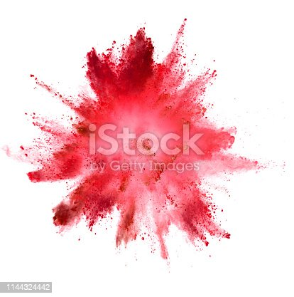istock Explosion of colored powder on white background 1144324442