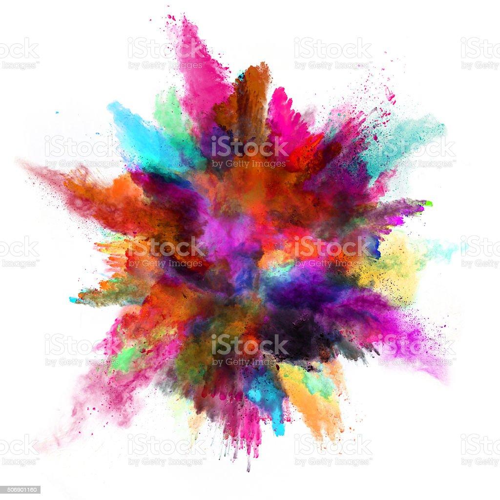 Explosión del polvo de color en fondo blanco - foto de stock