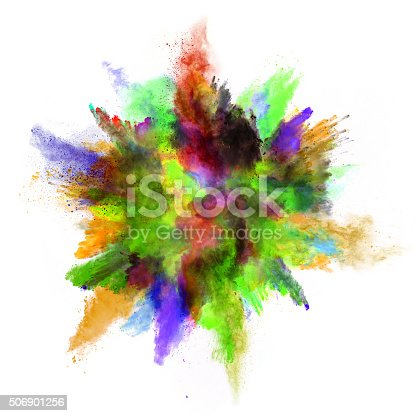 istock Explosion of colored powder on white background 506901256