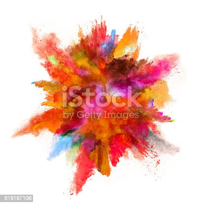 istock Explosion of colored powder on white background 519167106
