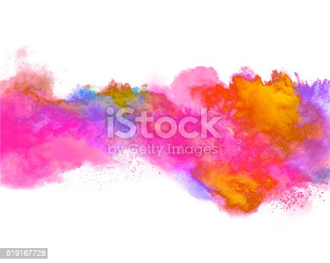 istock Explosion of colored powder on white background 519167728