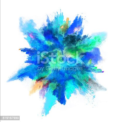 istock Explosion of colored powder on white background 519167930