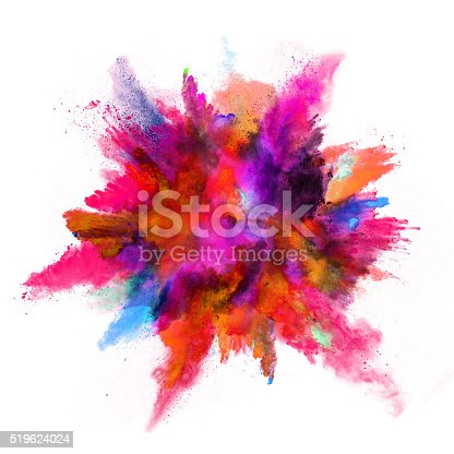 istock Explosion of colored powder on white background 519624024