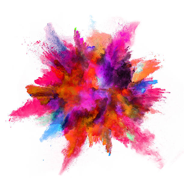 Explosion of colored powder on white background stock photo