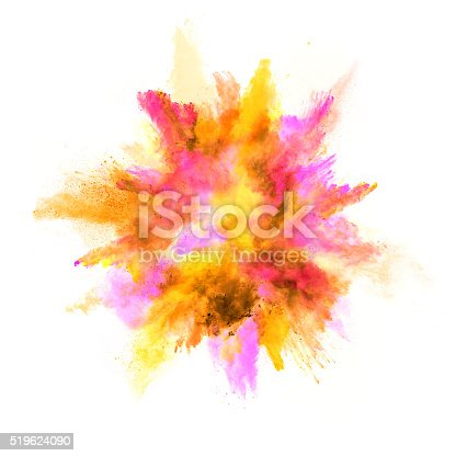 istock Explosion of colored powder on white background 519624090