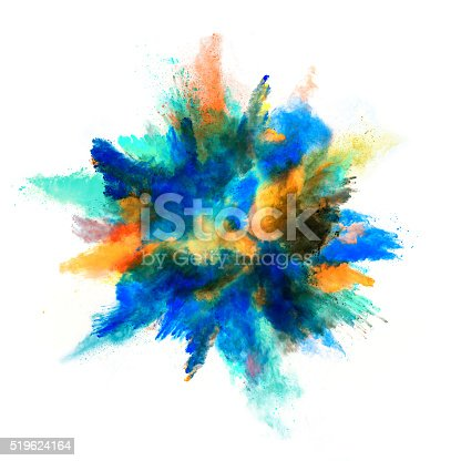 istock Explosion of colored powder on white background 519624164