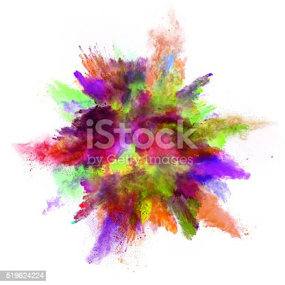 istock Explosion of colored powder on white background 519624224