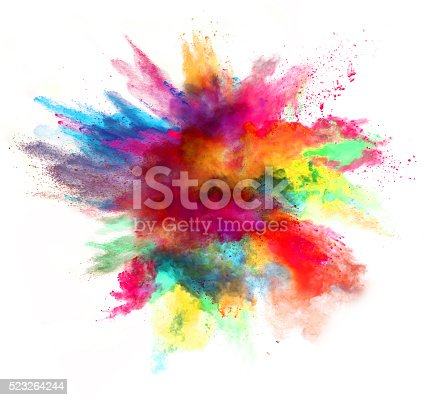 istock Explosion of colored powder on white background 523264244