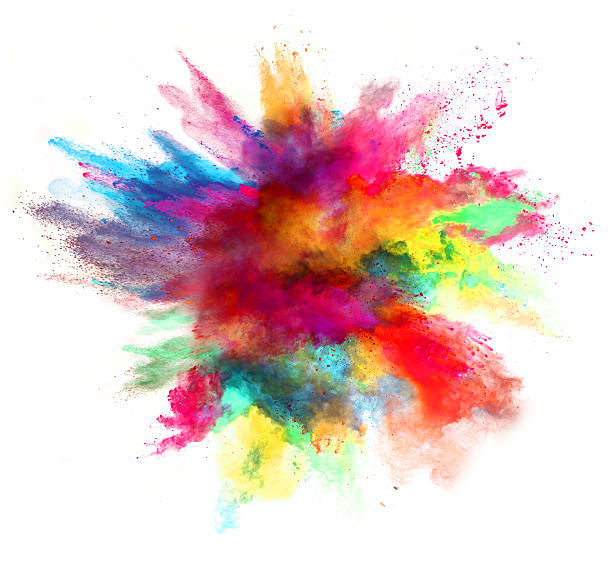 explosion of colored powder on white background - kleurenfoto stockfoto's en -beelden