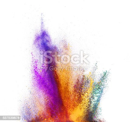 istock Explosion of colored powder on white background 537539878