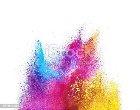 istock Explosion of colored powder on white background 537540058
