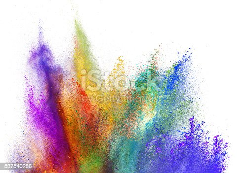 istock Explosion of colored powder on white background 537540286