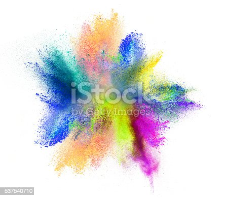 istock Explosion of colored powder on white background 537540710