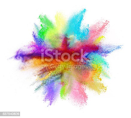 istock Explosion of colored powder on white background 537540826