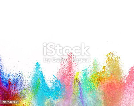 istock Explosion of colored powder on white background 537540938