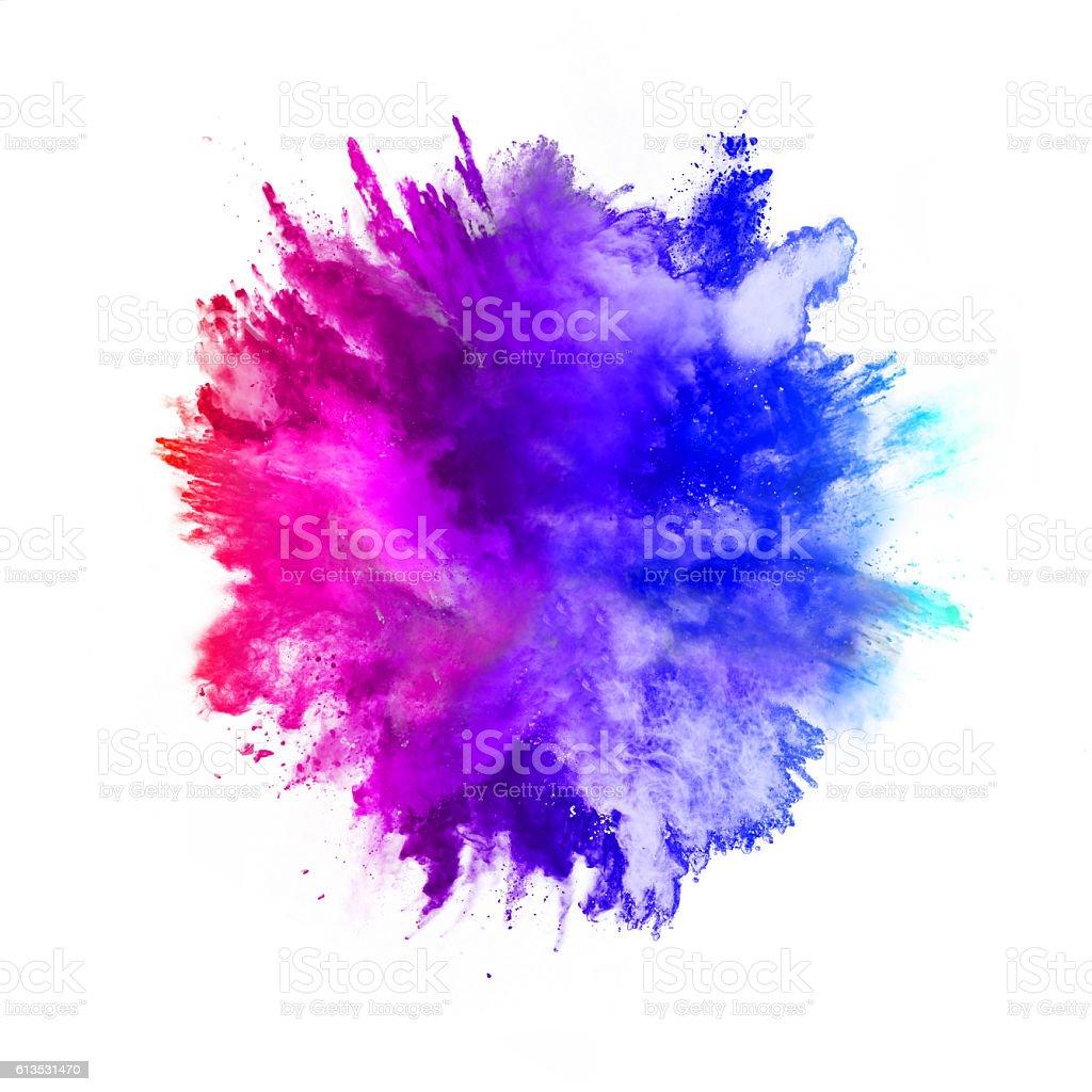 Explosion de couleurs sur fond blanc poudre photo libre de droits