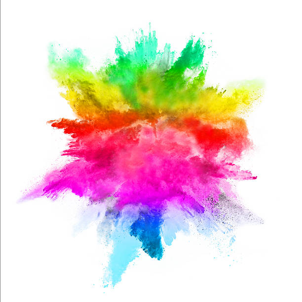 Explosion de couleurs sur fond blanc poudre - Photo