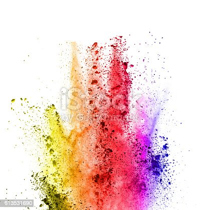 istock Explosion of colored powder on white background 613531690