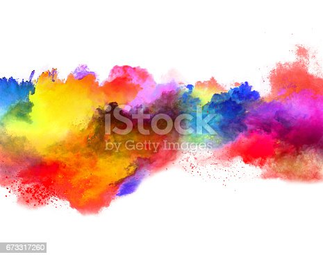 istock Explosion of colored powder on white background 673317260
