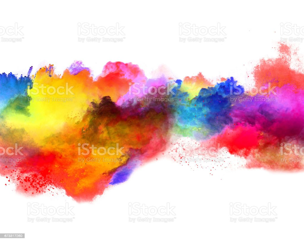 Explosion of colored powder on white background - foto de stock