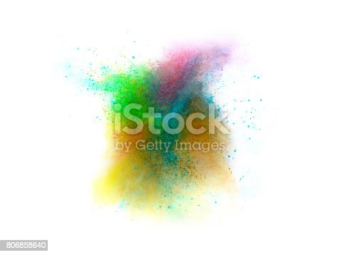 istock Explosion of colored powder on white background 806858640