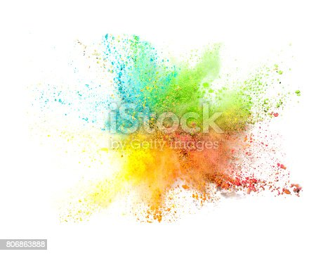 istock Explosion of colored powder on white background 806863888