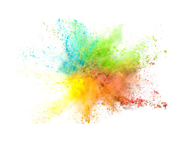 explosion of colored powder on white background - colore descrittivo foto e immagini stock