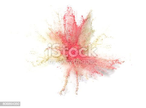 istock Explosion of colored powder on white background 806864050