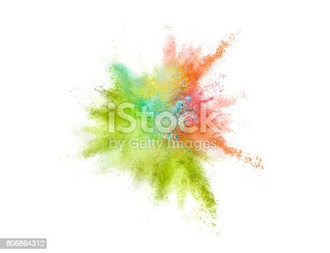 istock Explosion of colored powder on white background 806864312