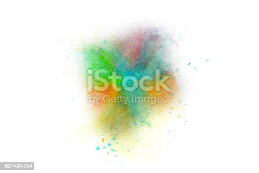 istock Explosion of colored powder on white background 807434754