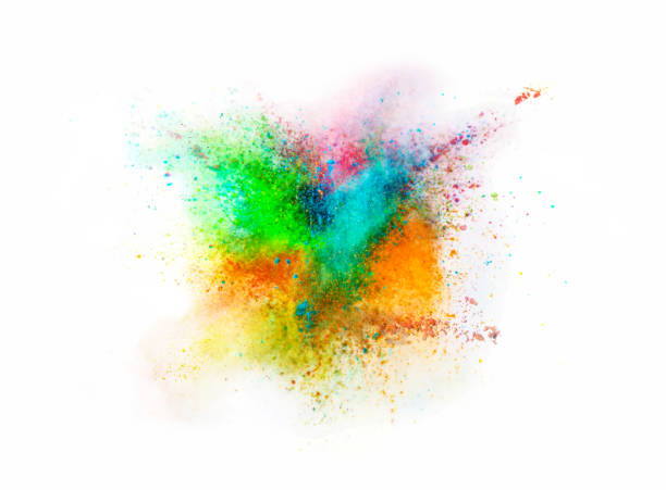explosion of colored powder on white background - abstract multicolored powder explosion stock photos and pictures