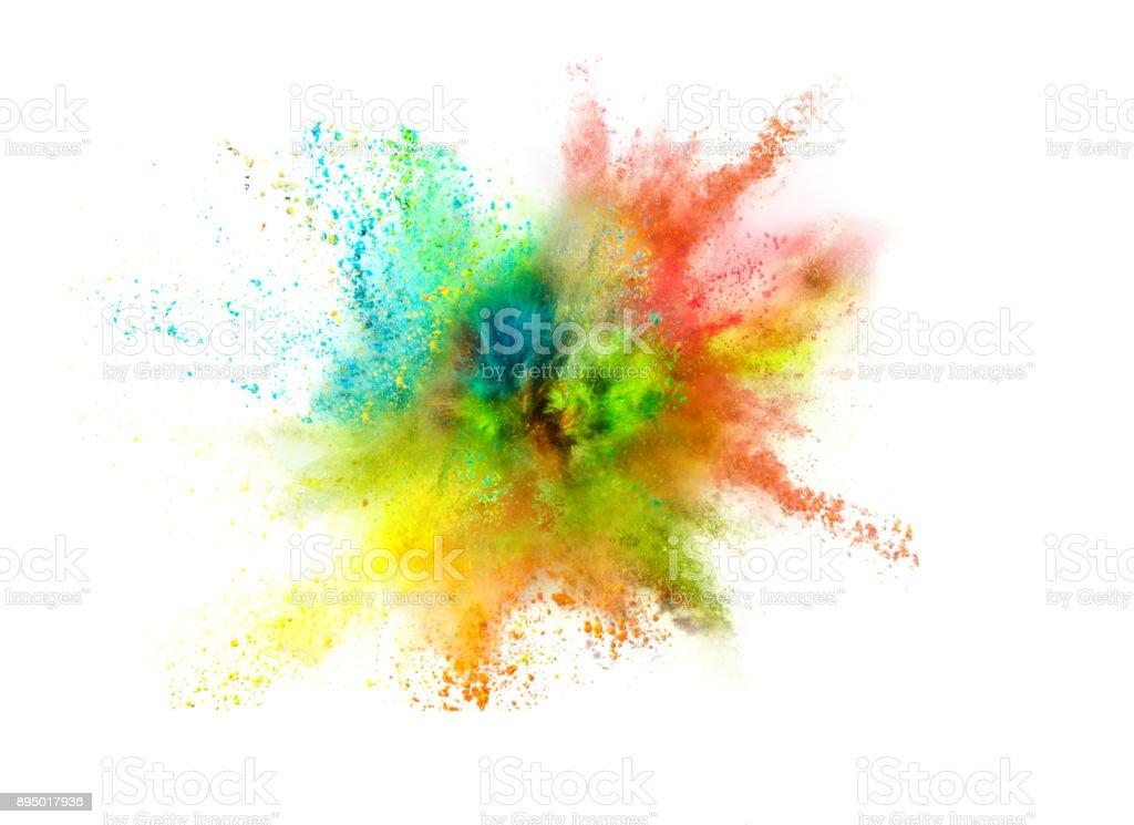 Explosion de couleurs sur fond blanc poudre - Photo de Abstrait libre de droits