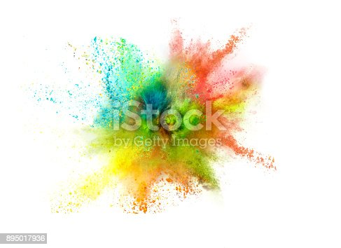 istock Explosion of colored powder on white background 895017936