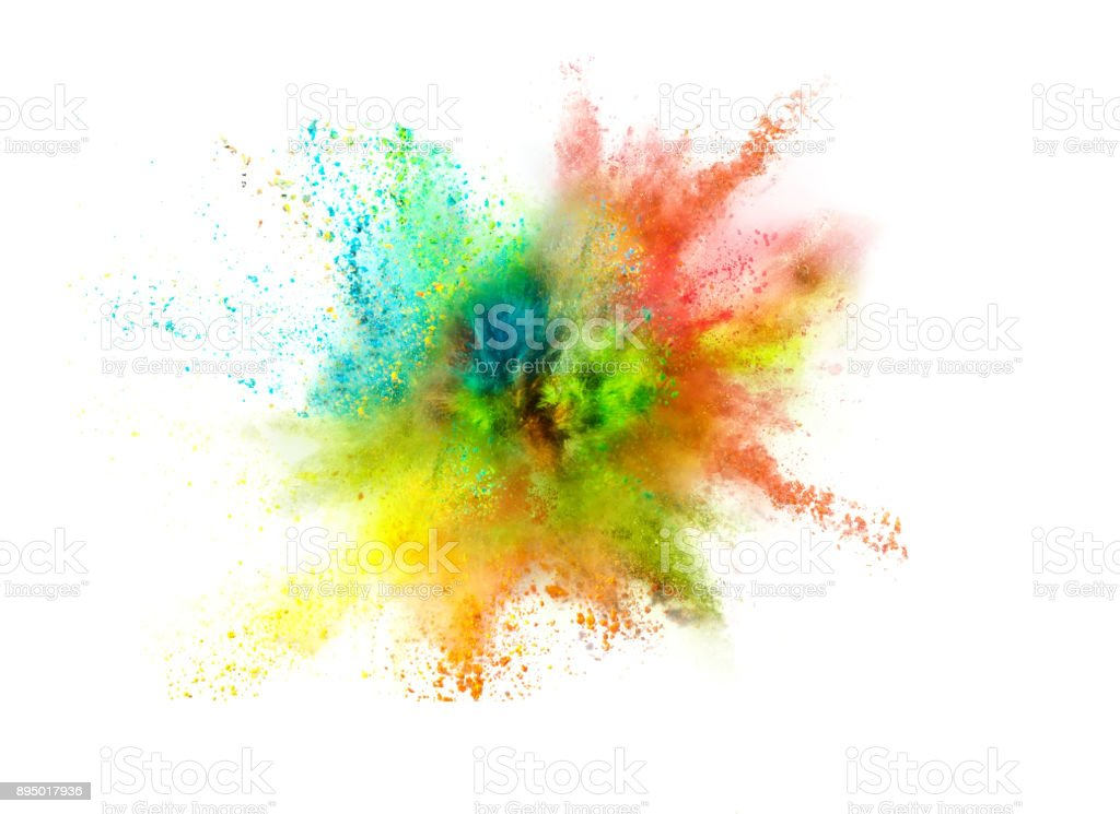 Explosion of colored powder on white background – zdjęcie