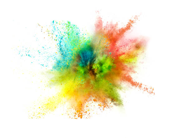explosion of colored powder on white background - multi colored stock pictures, royalty-free photos & images