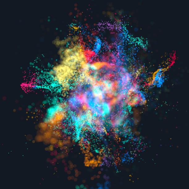 explosion der bunten teilchen - cosmic abstract background with stock-fotos und bilder