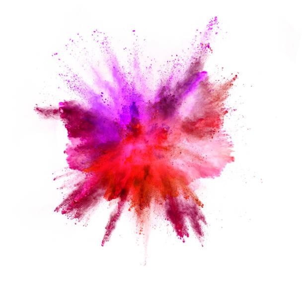 explosion der farbpulver auf weißem hintergrund - lila palette stock-fotos und bilder