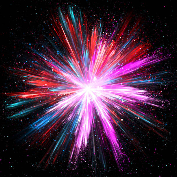 explosion of pink, blue and red powder - big bang foto e immagini stock