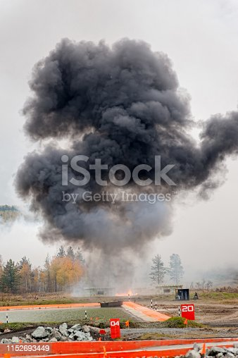 istock Explosion of thermite bomb from Solncepek launcher 1152693449