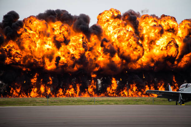 Explosion on an Air Field Explosion on an air strip at a air force base military attack stock pictures, royalty-free photos & images